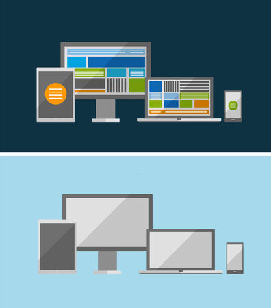 Vector responsive ui flat design concept. Can be used for business  technology presentations, printed support Vector