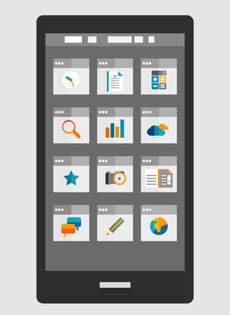 Mobile phone apps trendy flat design Stock Vector - 27209424