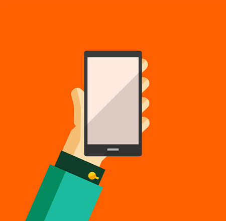 Businessmans hand holding smart phone trendy flat design Vector