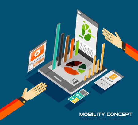 Mobility concept flat design. 3d tablet with graphics, calculator, movie, music concepts Vector