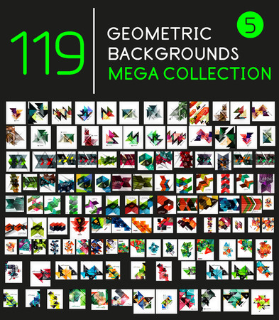 Huge mega collection of 119 geometric shape abstract backgrounds Vector