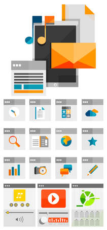 Mobile apps flat design concept | app icons and mobile device collection Vector