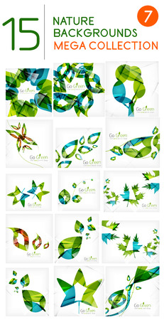 Abstract green leaf backgrounds mega collection Vector