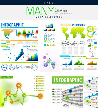 Infographics collections vector illustration - mega collection with many elements Vector