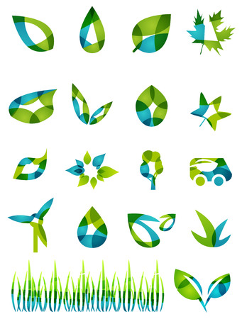 Abstract green leaf shapes icon set