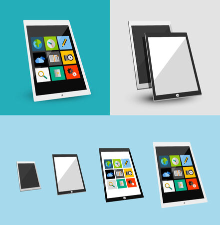 3d tablet responsive flat ui design. Can be used for app presentations, printed support Vector