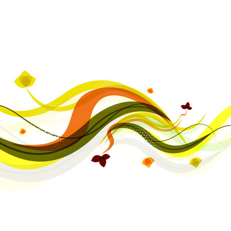 Abstract background | spring wave lines with leaves Vector