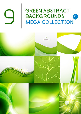 Mega set of green abstract backgrounds | summer or spring seasonal waves, swirls, textures, templates Vector