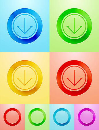 Vector flat circle buttons with arrow sign and blank design Vector