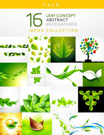 Mega collection of leaf concept nature abstract backgrounds Vector