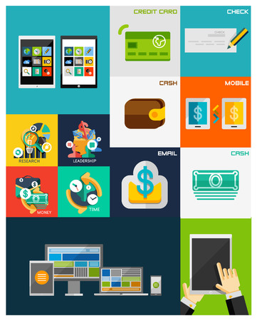 Business, Finance, Computers flat concepts collection Vector