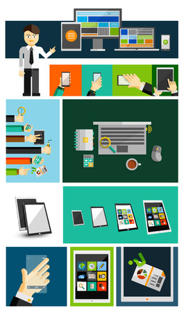 Business life and mobile devices flat concepts collection Vector
