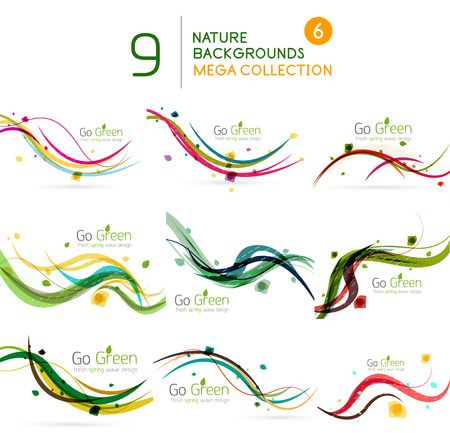 Spring | Summer wave floral nature background mega collection Vector