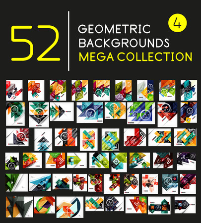 Mega collection of geometric shape abstract backgrounds Illustration