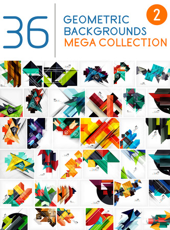 Mega collection of geometric shape abstract backgrounds Stock Vector - 27687236