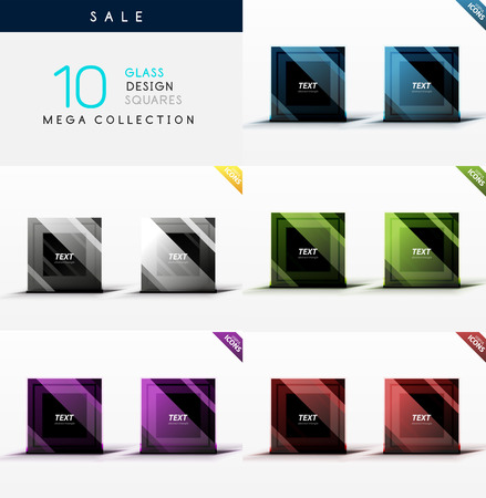 Mega collection of glass square symbols - web boxes  banners Vector