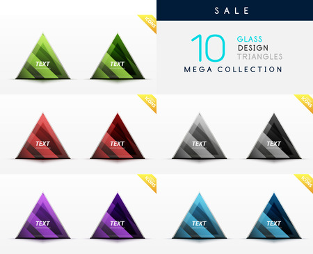 Mega collection of glass triangle symbols - web boxes  banners Vector