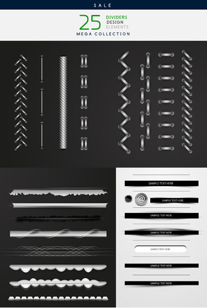 Collection of vector illustrations - high detailed stitches and dividers Vector
