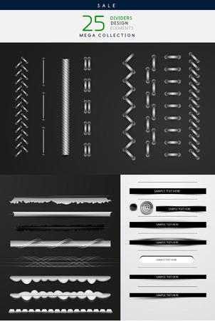 Sammlung von Vektor-Illustrationen - hoch detaillierte Stiche und Teiler