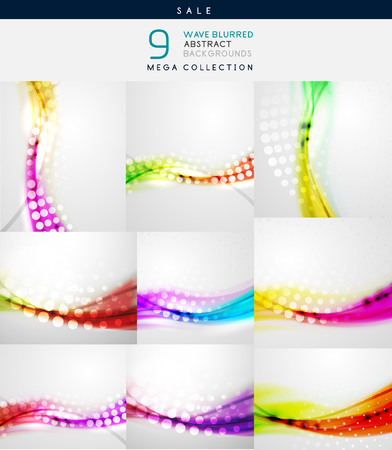 Collection of vector blurred wave abstract backgrounds Vector
