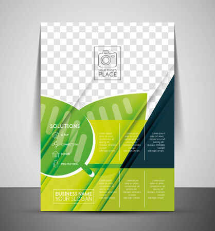 Green Nature Concept Print Template - Corporate Flyer Vector