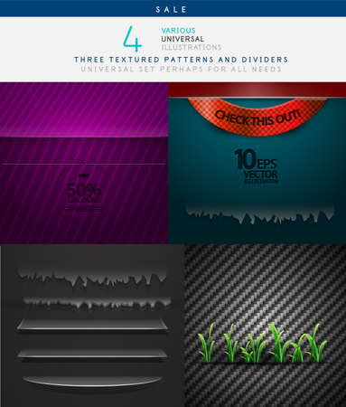Collection of various vector textures - metal and paper, and dividers for decor Vector