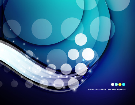 white wave: Futuristic white wave design on color background with circles