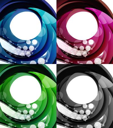 swirl backgrounds: Set di turbinio sfondi astratti - 4 per Design Vettoriali