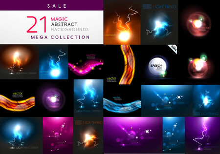 Set of abstract dark magic backgrounds Vector