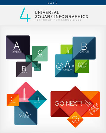Square infographics, option banners collection. Colorful geometrical shaped design templates Vector