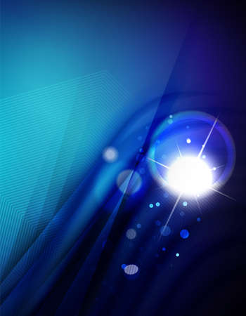 Hi-tech futuristic abstract blurred flares and blue colors Vector