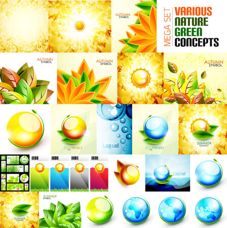 Various nature backgrounds set - autumn and summer concepts Vector