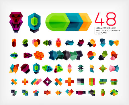 multipurpose: Blank geometric banner design templates mega set. Can be used as infographic template, business card design, abstract geometric symbols, multipurpose web elements