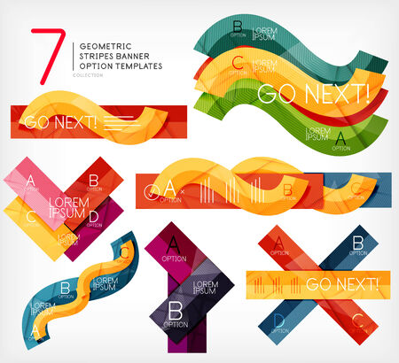 Set of stripe infographic templates for business background | numbered banners | business lines | graphic website Vector