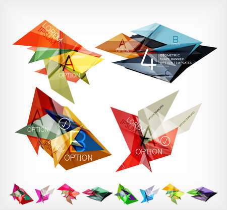 Triangle geometric shaped web boxes. Corporate abstract business templates. For brochure, presentation, web background, print production Vector