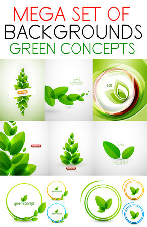 stylize: Vector mega set of green concepts. Nature concepts for your projects
