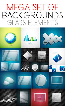 Vector mega collection of glass elements screens  backgrounds Vector