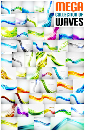 Mega collection of wave abstract backgrounds with copy space. For business  tech design templates, web design, presentations Vector