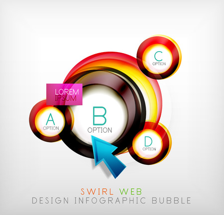 Swirl web design infographic bubble - flat concept. Can be used as web design templates, business illustrations, promotional banners, price tables Vector
