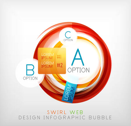 Circle web design bubble with infographic elements and mouse cursor Vector