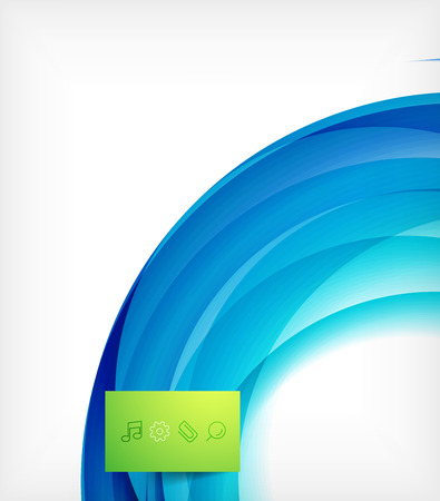 Blue swirl wave abstract design template Illustration