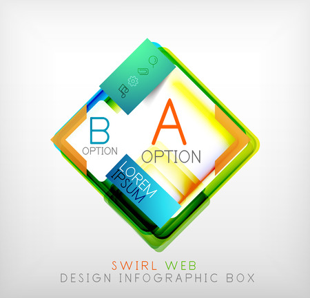 square geometric shaped web design boxes | modern infographic template Vector
