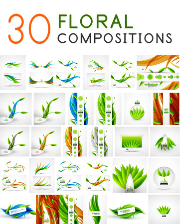 Mega collection of vector green leaf compositions, wave line backgrounds Vector