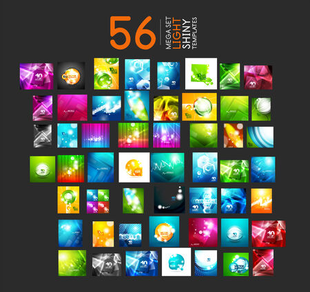 Mega collection of light shiny layout abstract templates. 56 vector illustrations Vector