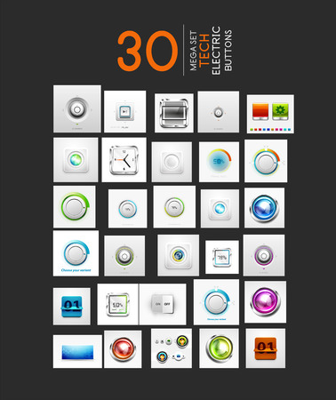 Mega collection of vector UI buttons set. 30 design elements - switch progress bars controllers counters volume knobs Vector