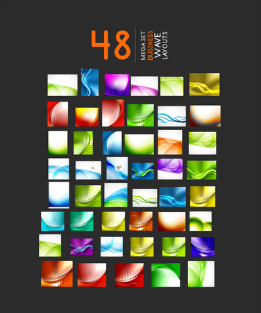 Mega collection of abstract business or hi-tech wave layouts. 48 design templates Vector