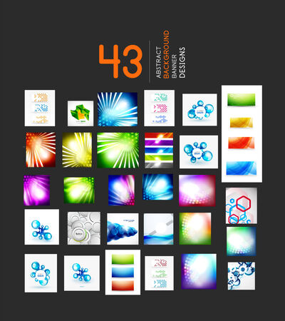 Mega set of business geometric layout abstract templates. 43 backgrounds Vector