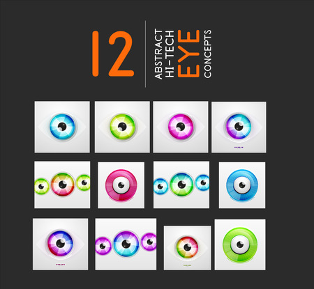 Eye design vector modern hi-tech concepts collection Vector