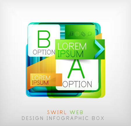 Vector square geometric shaped web design boxes | modern infographic template Vector
