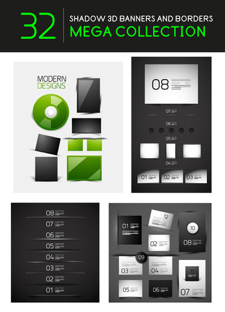 Vector creative 3d shadow banners borders dividers. Mega collection Vector